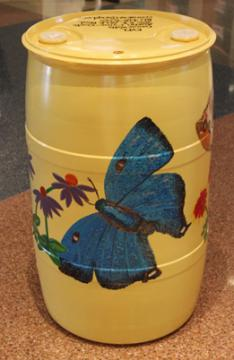 Yellow Barrel/ w/Blue Butterfly: Connie Walts, Youth Services Assistant, 2015