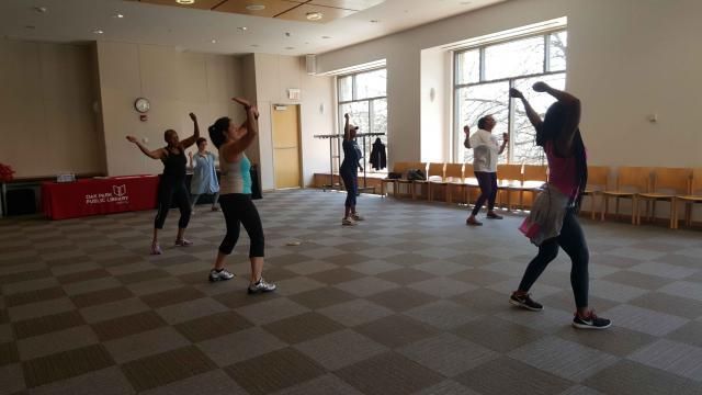 Participants in a Zumba class