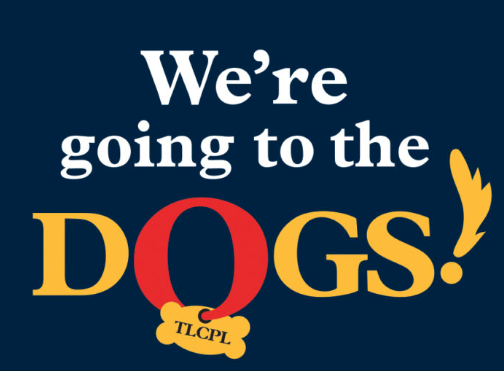"""We're going to the dogs!"" logo"