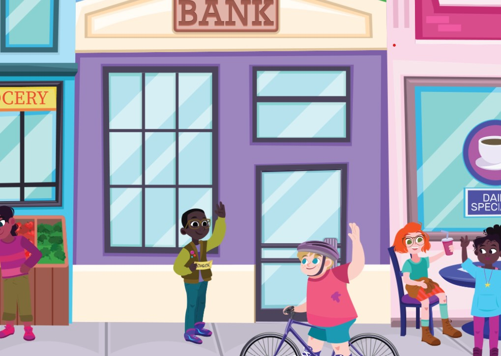 Illustration of children waving to each other in front a bank.