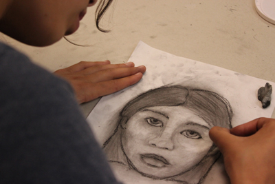 Young artist drawing