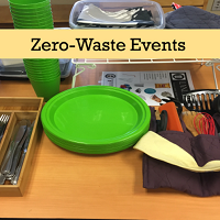 "table with plates and utensils and ""Zero-Waste Events"" text"